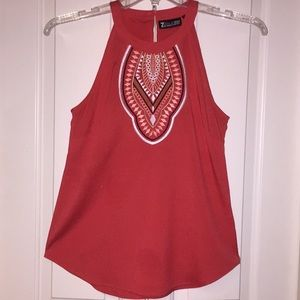 Embroiled Halter-Style Blouse